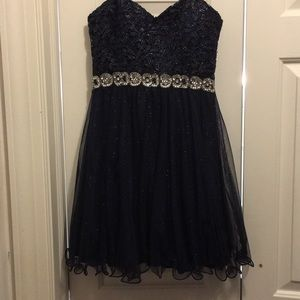 Navy blue strapless cocktail dress